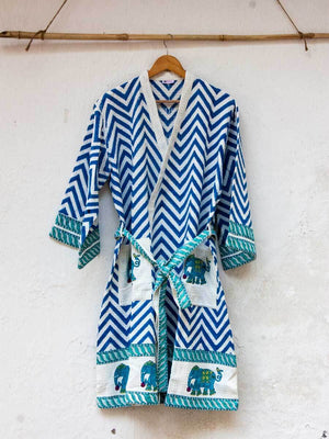 Elephant Hand Block Print Cotton Bath Robe Bath Robes