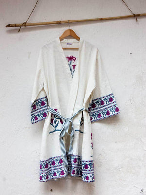 Flower Hand Block Print Cotton Bath Robe Bath Robes