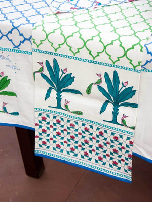Madhuban Hand Block Print Cotton Table Runner Table Mats Runners Napkins Tea Cozy