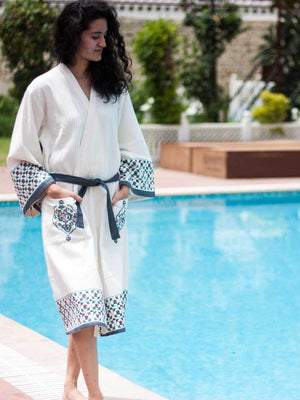 Mahtab Hand Block Print Cotton Bath Robe Bath Robes