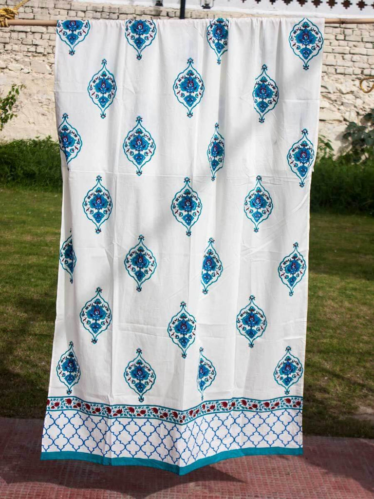 Mahtab Royal Seal Hand Block Print Cotton Curtain with Border & Concealed Loops Curtains