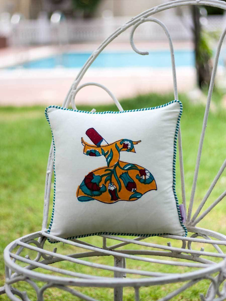 Mahtab Whirling Dervish Hand Block Print Cotton Cushion Cover - 12 Inch Cushions