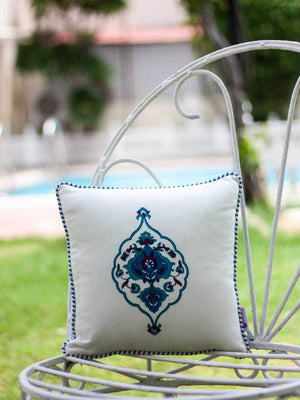 Mahtab Royal Seal Hand Block Print Cotton Cushion Cover - 12 Inch Cushions