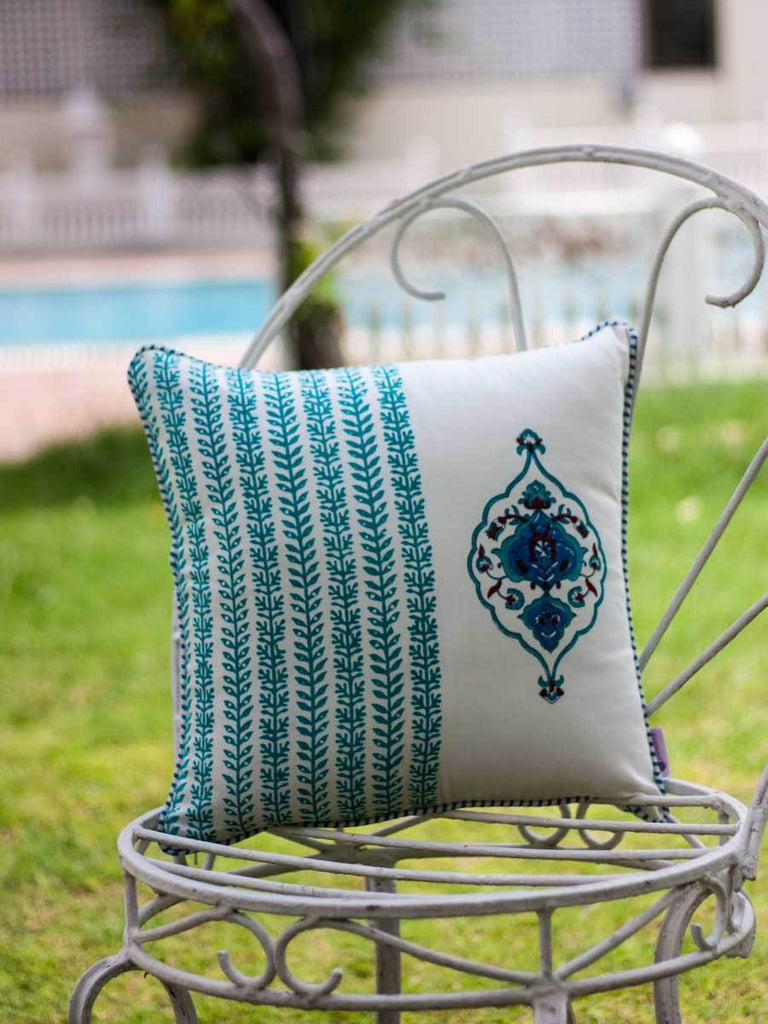 Mahtab Royal Seal Hand Block Print Cotton Cushion Cover - 16 Inch Cushions