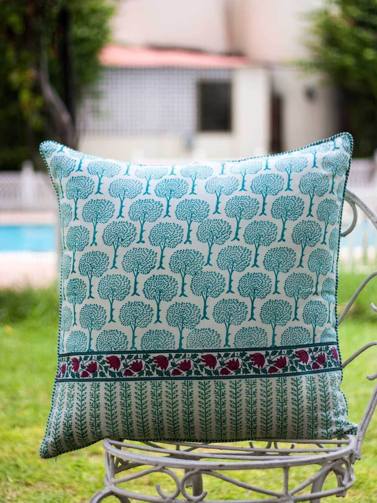Mahtab Hand Block Print Cotton Cushion Cover - 24 Inch Cushions