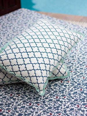 Mahtab Firefly Hand Block Print Cotton Pillow Cover - Set of 2 - Pinklay