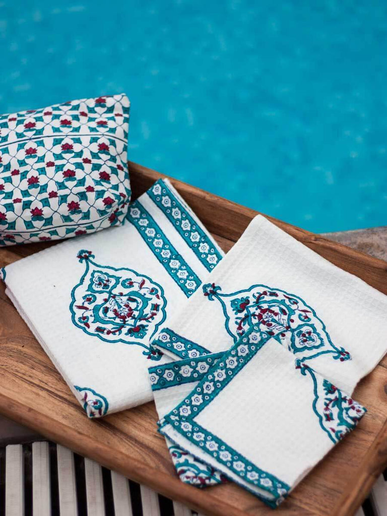 Mahtab Hand Block Print Cotton Hand Towels - Set of 2