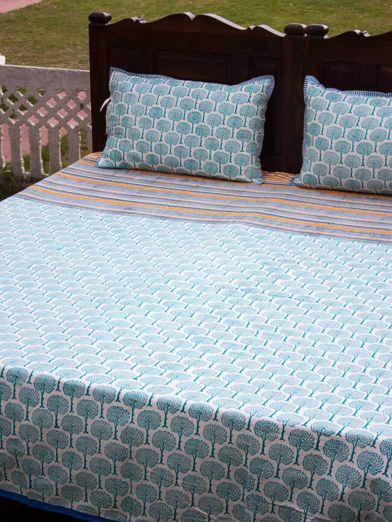 Mahtab Garden Handblock Print Cotton Double Bed Sheet Set With 2 Pillow Covers Bed Sheet