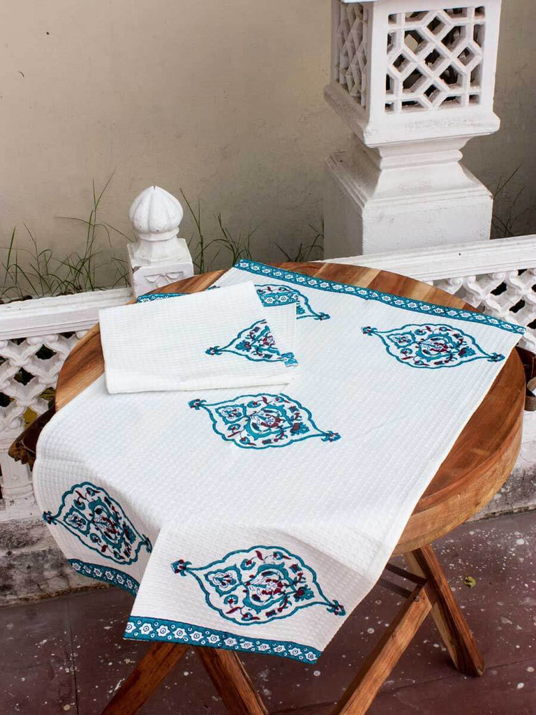 Mahtab Hand Block Print Cotton Face Towels - Set of 2 Bath Linen