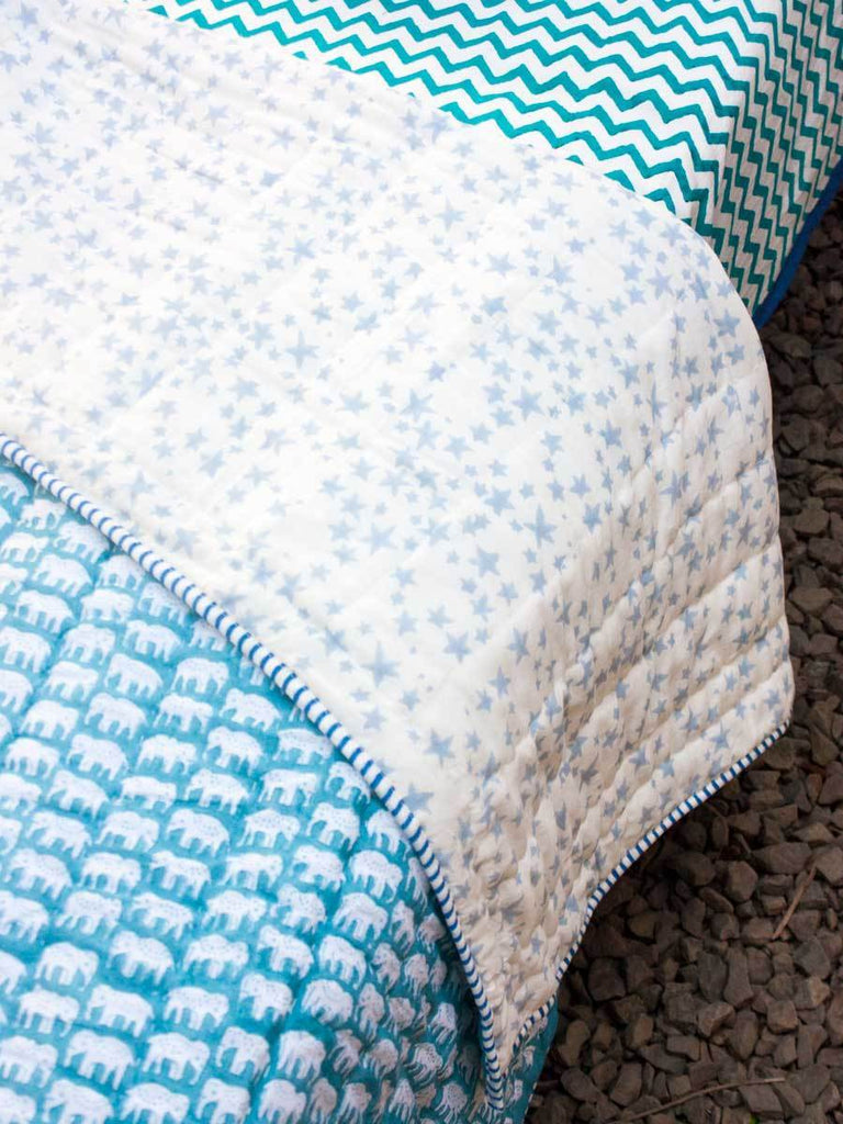 Mera Pyaara Haathi GOTS Certified Organic Cotton Reversible Single Bed Quilt New Kids Collection