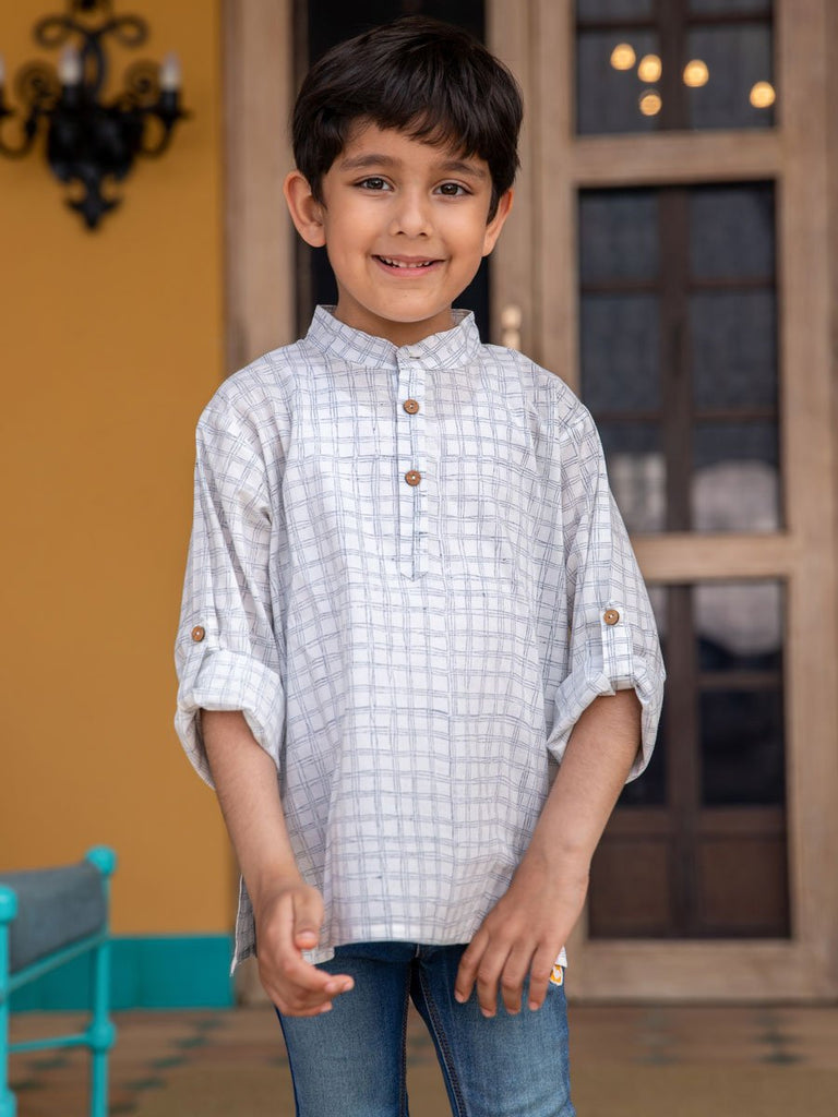 Checkmate Shirt Kurta with Roll Up Sleeves (Short Kurta) - Pinklay