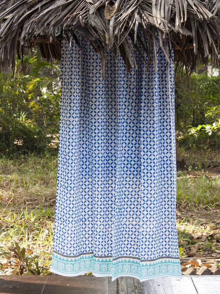 Summer Night Hand Block Print Cotton Curtain with Border & Concealed Loops Curtains