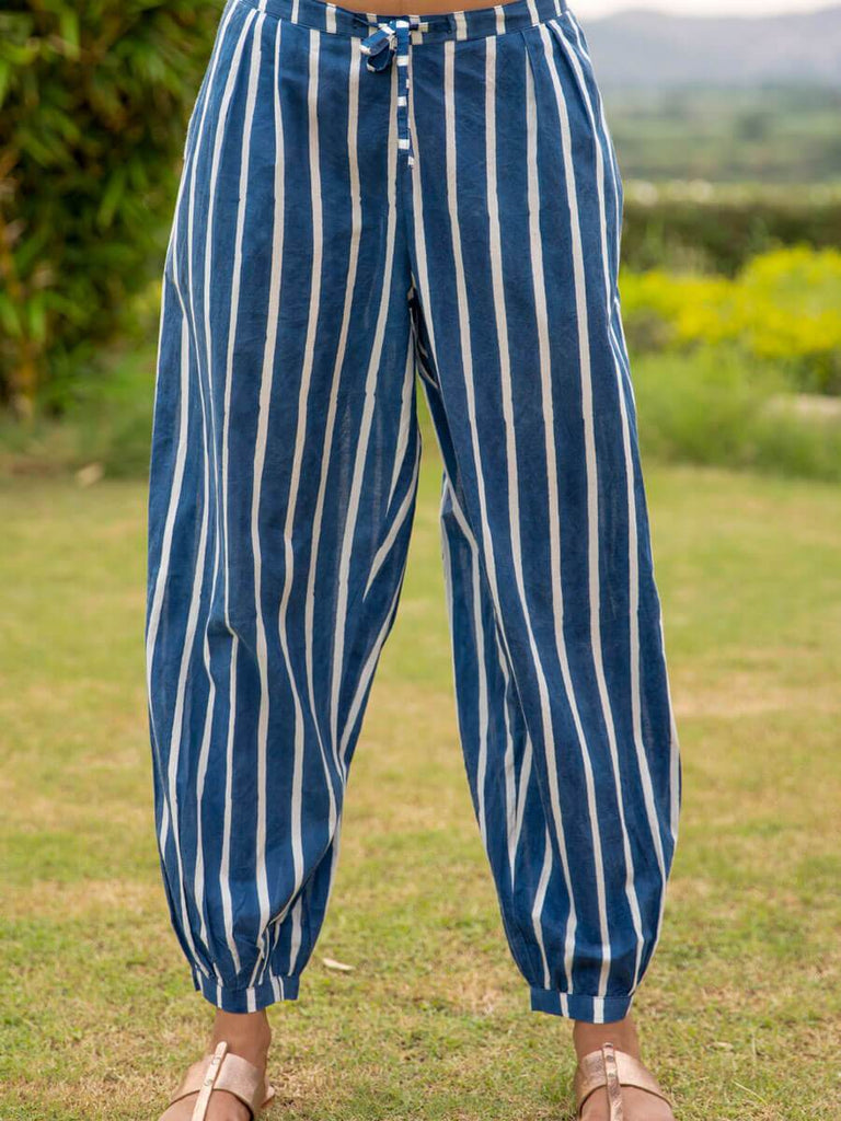 Midnight Stripes Cotton Slub Lantern Pants - Pinklay