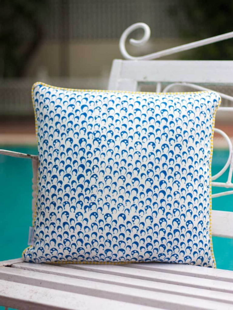 Noor Hand Block Print Cotton Cushion Cover - 16 Inch (Set of 2)