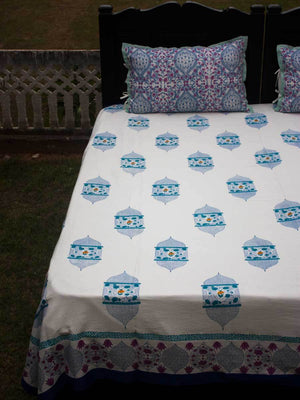 Noor Hand Block Print Cotton Bed Sheet Set With Complementing Pillow Covers