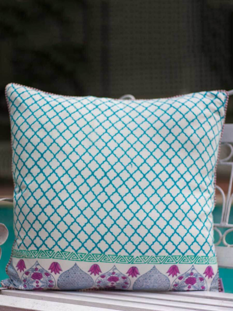 Noor Jaali Hand Block Print Cotton Cushion Cover - 24 Inch