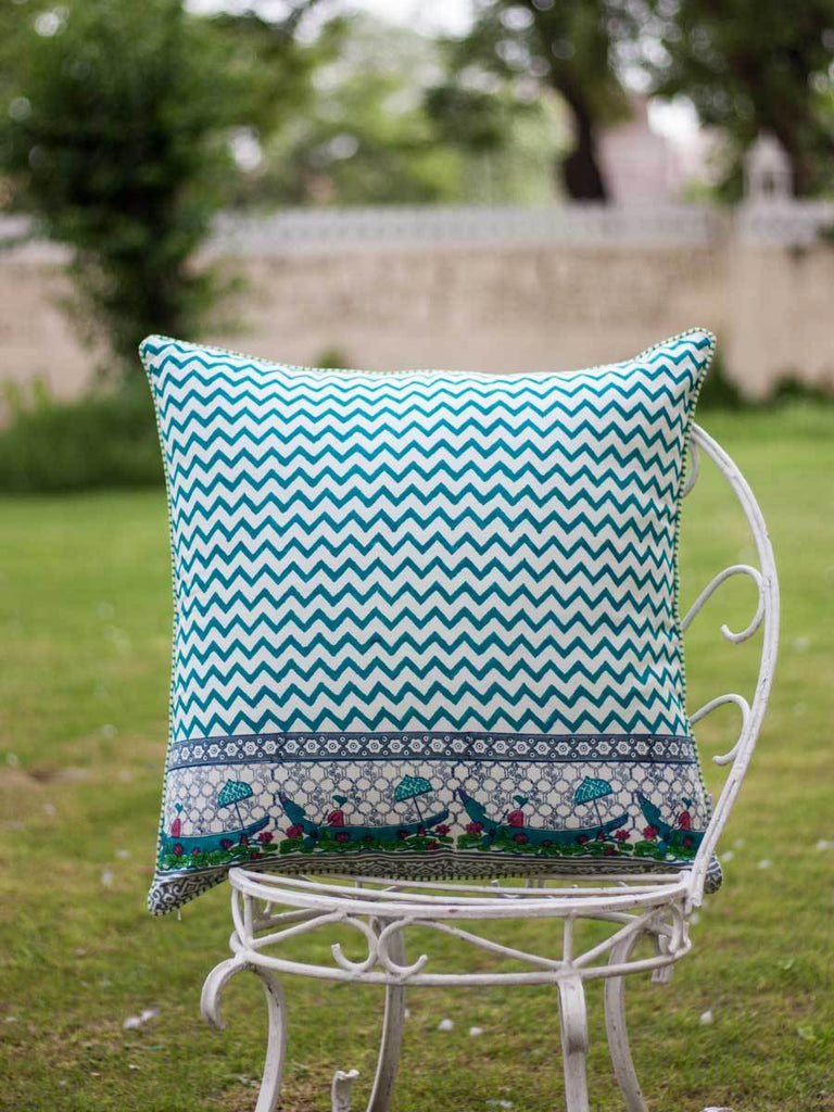 Onam Hand Block Print Cotton Cushion Cover - 24 Inch Cushions
