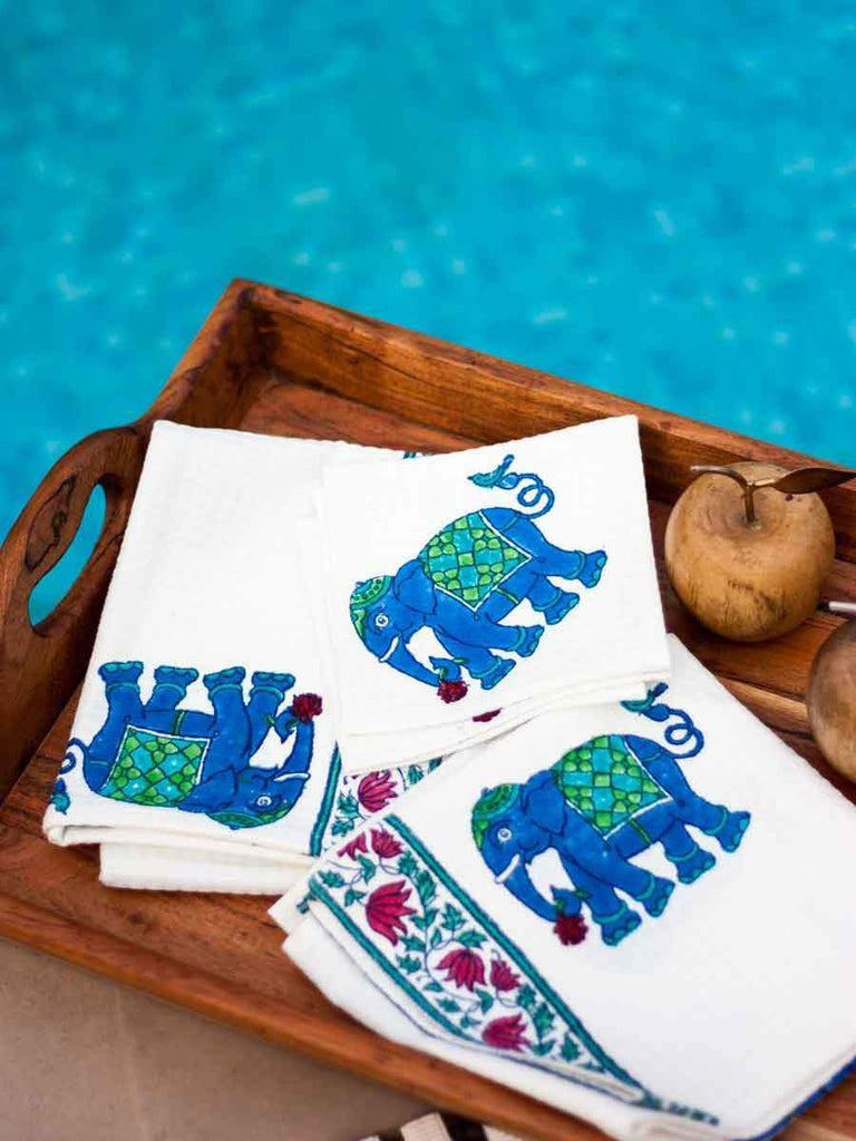 Haathi Hand Block Print Cotton Face Towels - Set of 2 Bath Linen