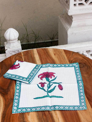 Onam Floral Hand Block Print Cotton Face Towels - Set of 2 Bath Linen