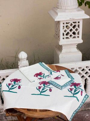 Onam Floral Hand Block Print Cotton Hand Towels - Set of 2 Bath Linen