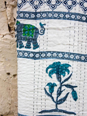 Atham Kantha Cotton Gudri; Double Layered Bed Cover Bed Cover