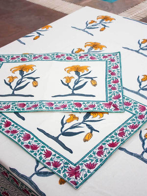 Floral Poetry Hand Block Print Cotton Table Mats - Set of 2 Table Mats Runners Napkins Tea Cozy