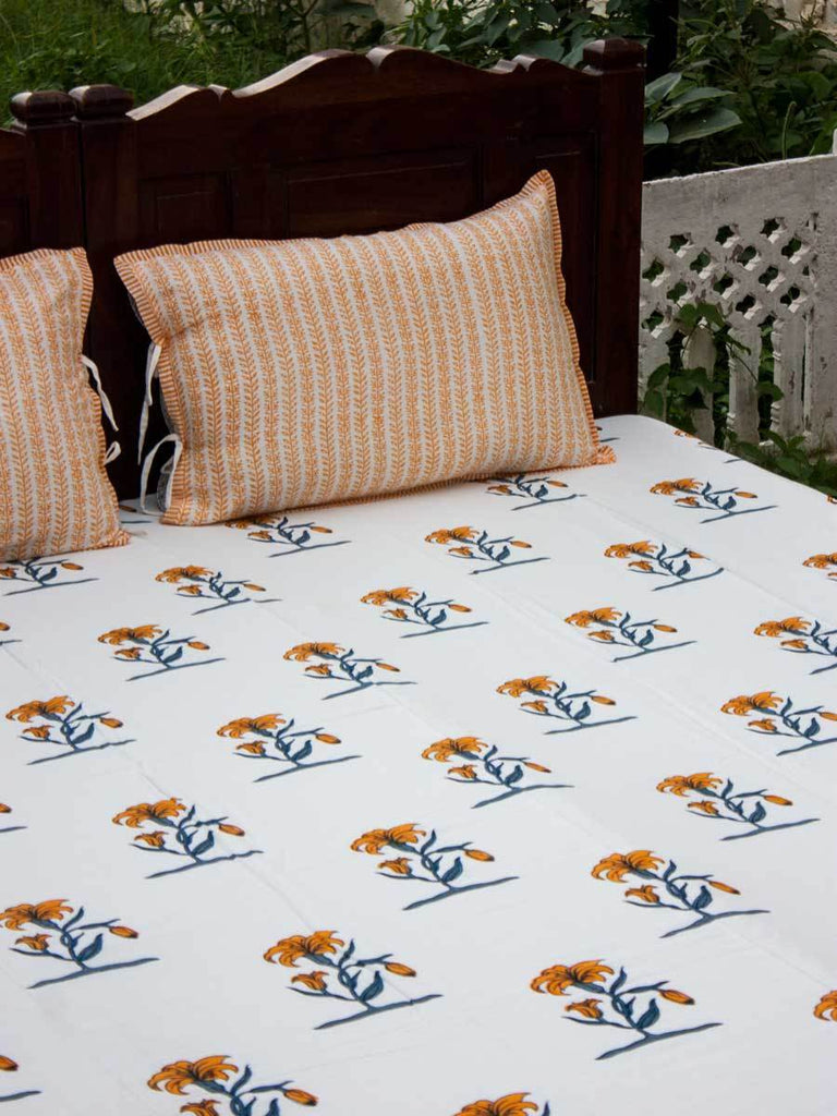 Pookalam Floral Hand Block Print Cotton Double Bed Sheet Set With 2 Pillow Covers Bed Sheet