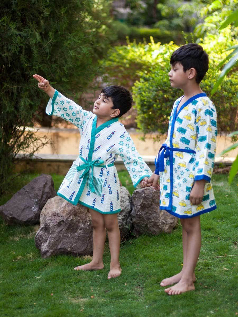 Power Wheels Premium Waffle Cotton Bath Robe Kids Clothing
