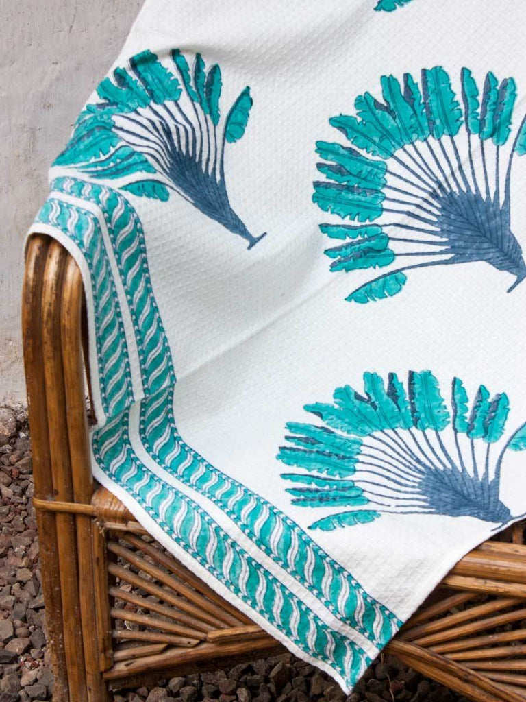 Palm Hand Block Print Cotton Bath Towel Bath Linen