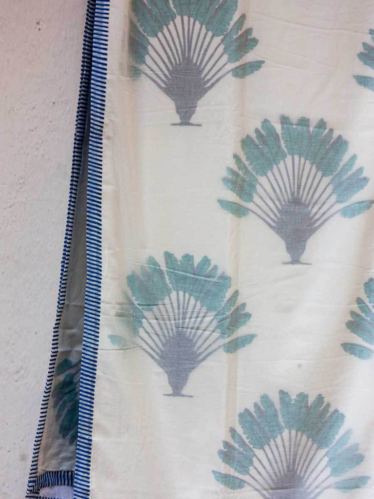 Dancing Palm Cotton Muslin Dohar, Hand Block Print Summer Blanket Dohars