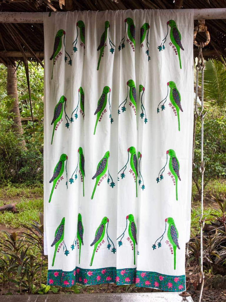 Parrot Hand Block Print Cotton Curtain with Border & Concealed Loops Curtains