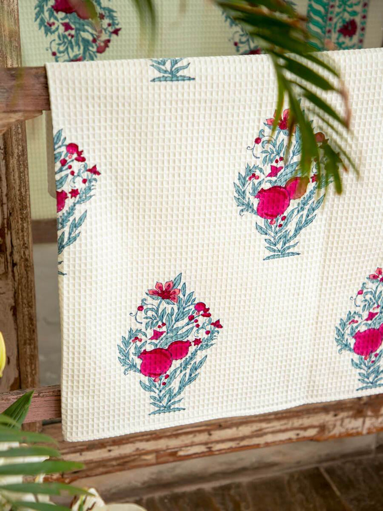 Pinar Hand Block Print Cotton Bath Towel - Pinklay
