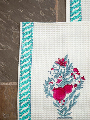 Pinar Hand Block Print Cotton Hand Towels - Pinklay