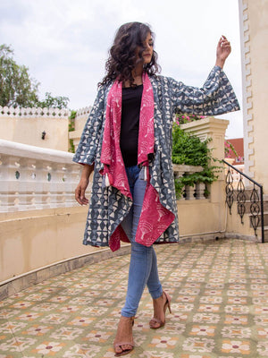 Pink Salt Dabu Print Waterfall Reversible Coat