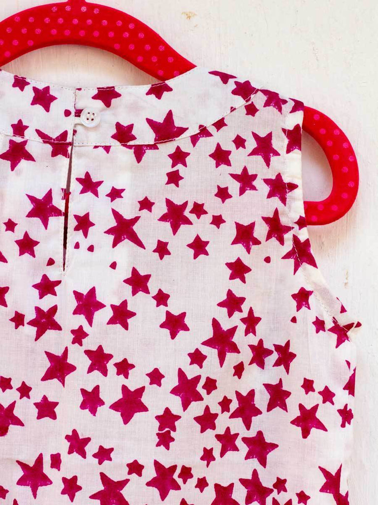 Deep Pink Starry Sky Pin-Tuck Layered Frock with a Bow Kids Clothing