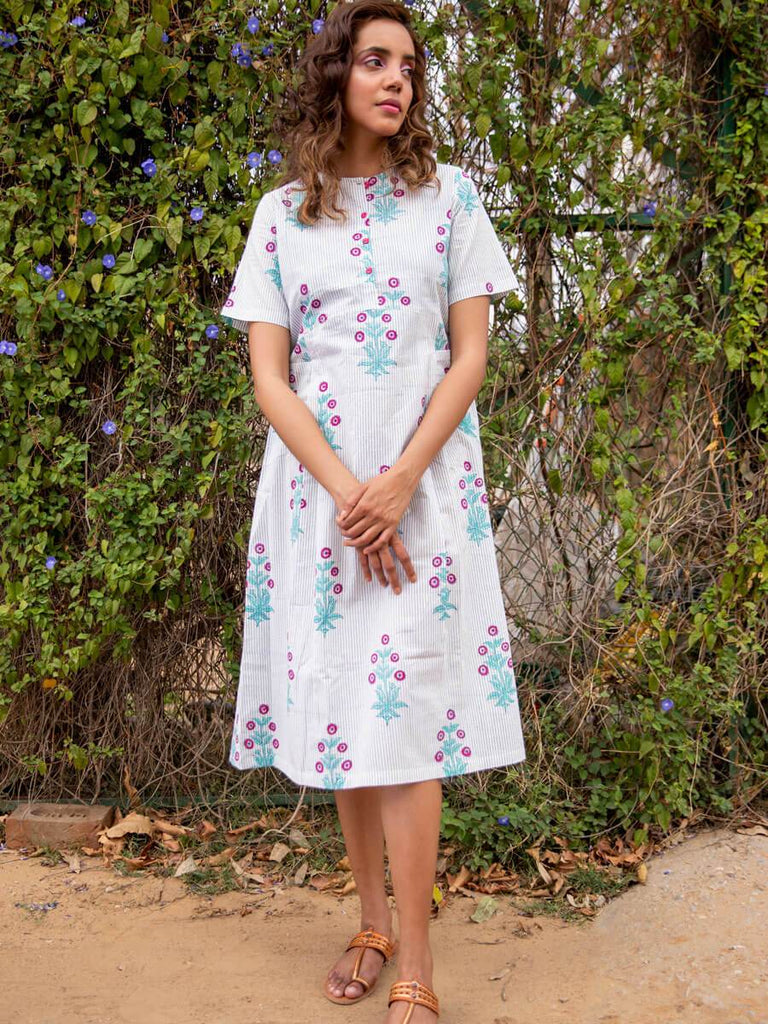 Pinklay Primrose Cotton Slub Pleated Dress With Pockets