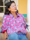Rasberry Kantha Embroidered Hand Block Print Bomber Jacket - Pinklay