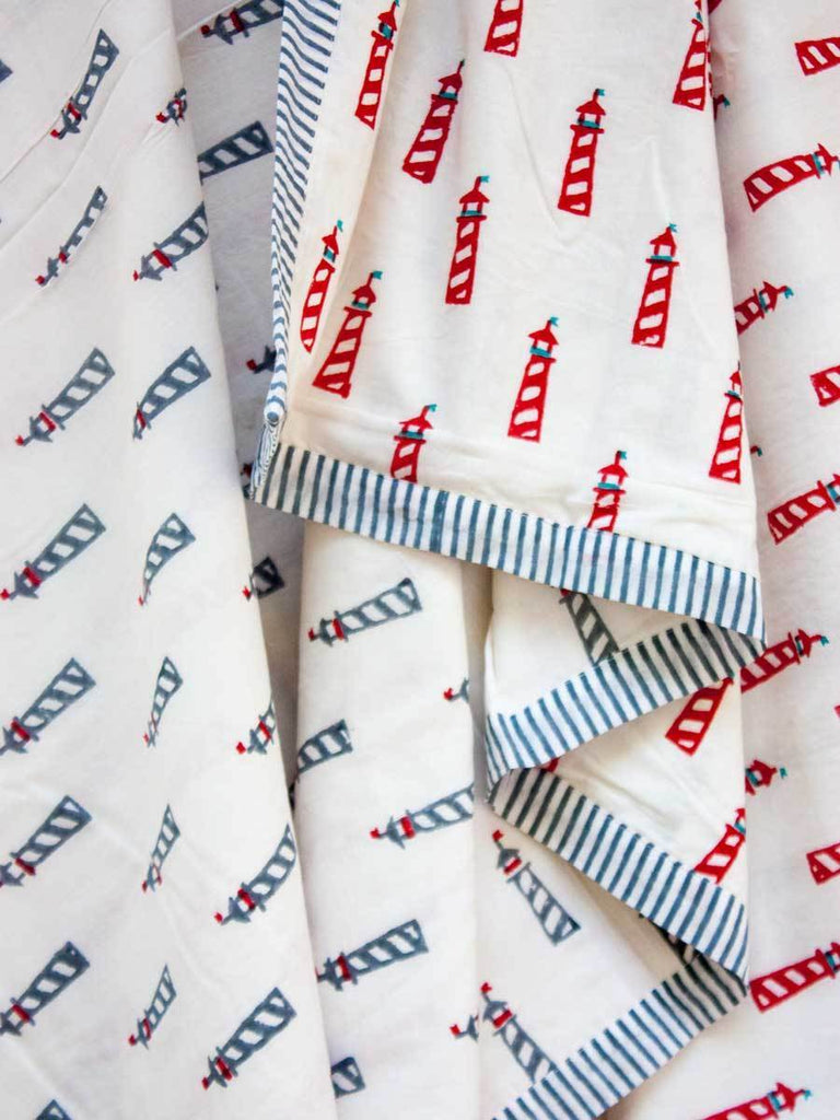 Red Lighthouse GOTS Certified Organic Cotton Reversible Dohar Blanket - 0-2 Yrs New Kids Collection