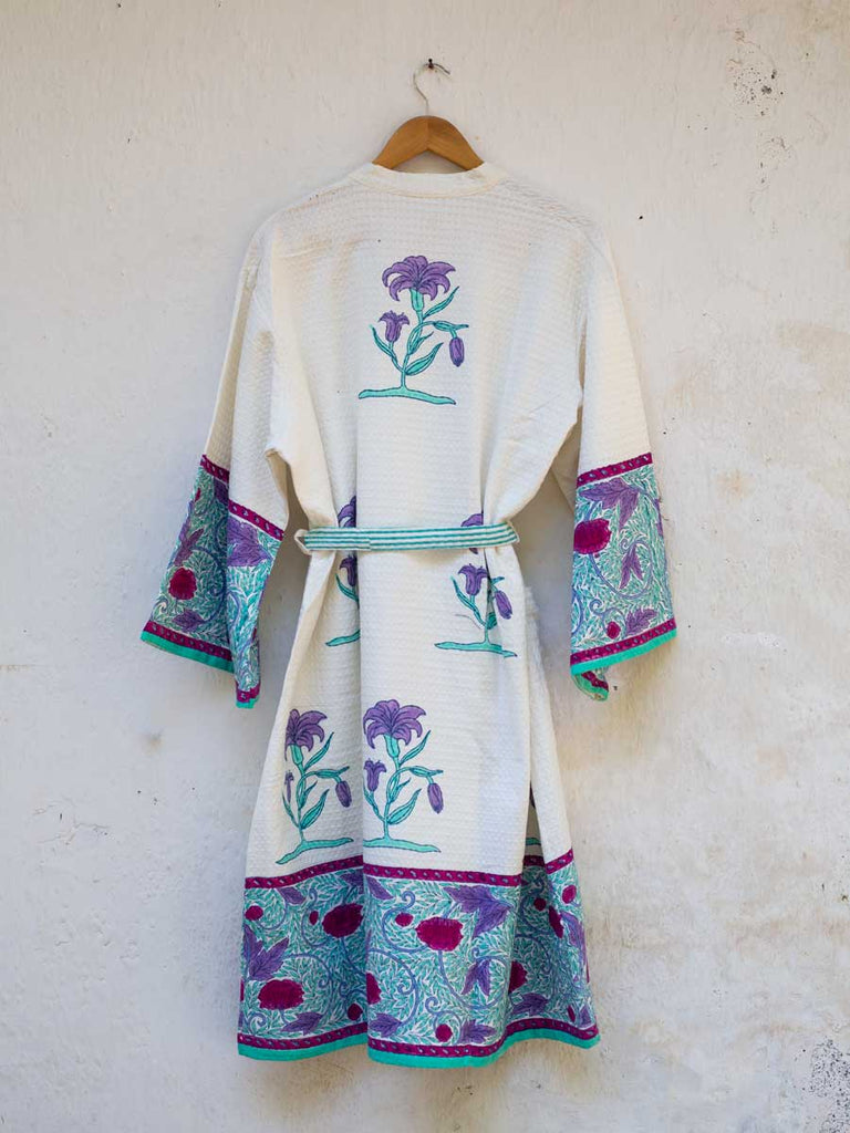 Romantic Lavender Hand Block Print Cotton Bath Robe - Pinklay