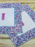 Romantic Lavender Hand Block Print Cotton Face Towels - Pinklay