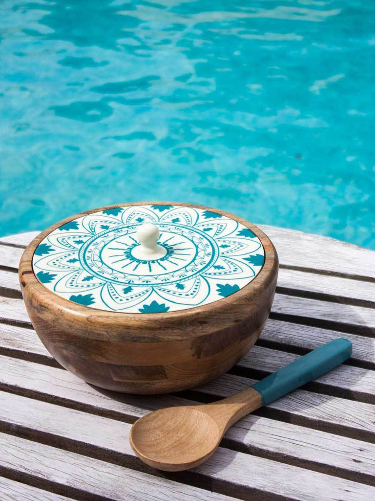 Mandala Solid Wood Salad Bowl with Lid and Mixing Spoon - Large Wooden Tableware