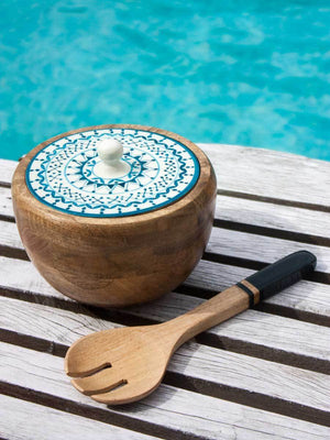 Mandala Solid Wood Salad Bowl with Lid and Mixing Spoon - Medium Wooden Tableware