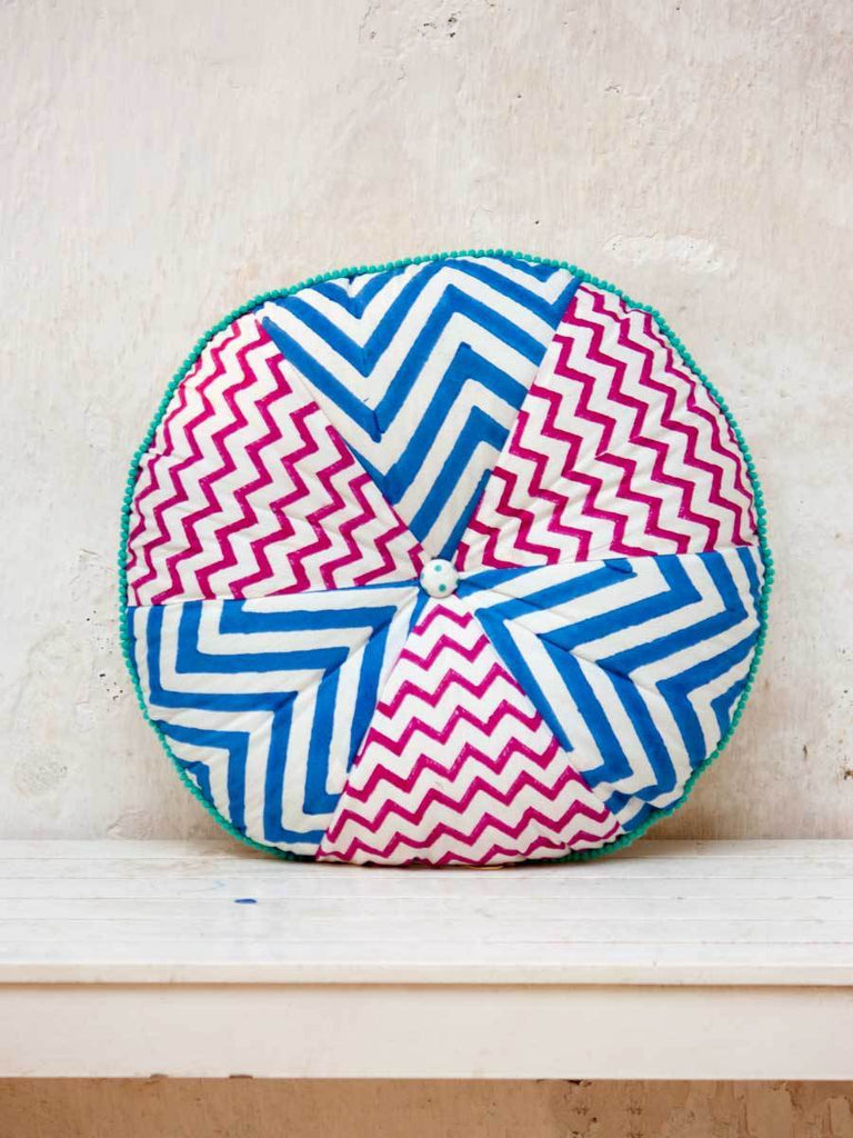 Santorini Hand Block Print Blue Dome Pinwheel With Filler Cushions