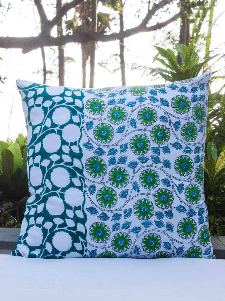 Seher Hand Block Print Double Side Printed Cotton Cushion Cover - 20 Inch Cushions