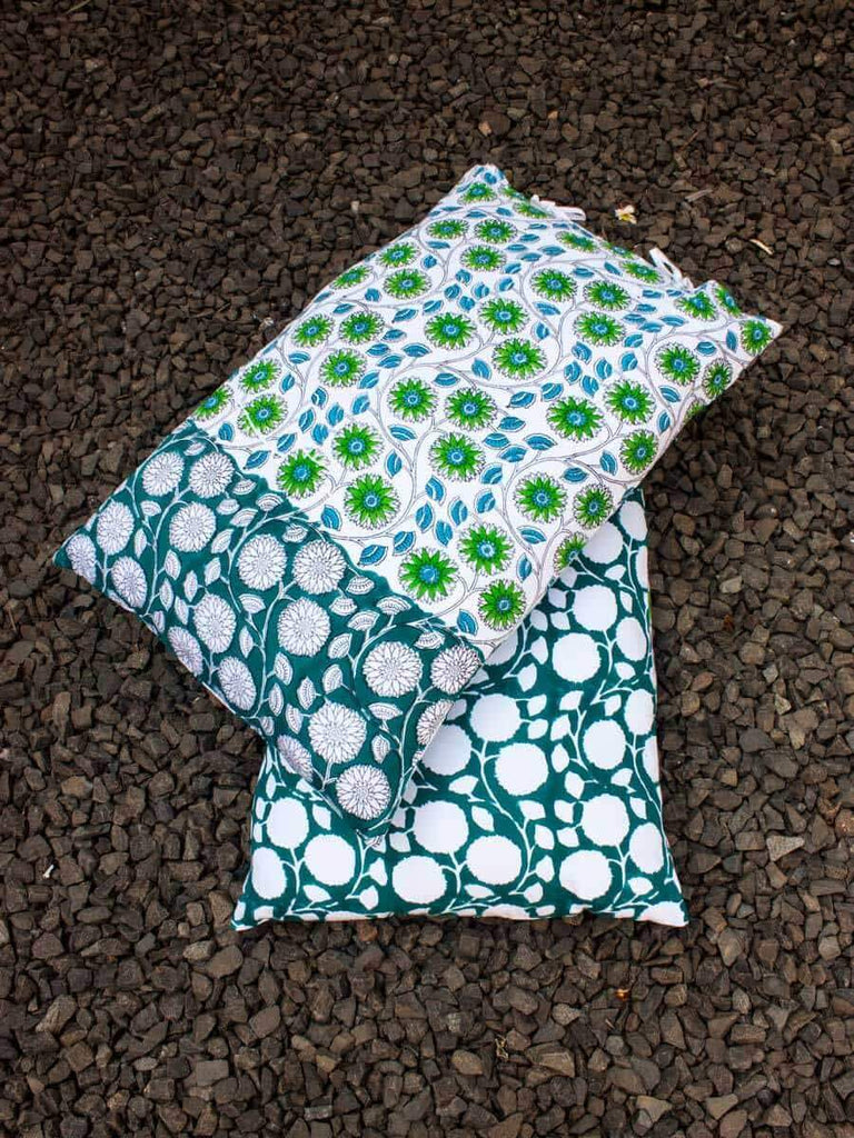 Seher Hand Block Print Floral Jaal Cotton Pillow Cover - Set of 2 Pillow Covers