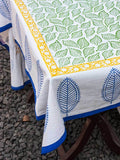 Singing Leaves Hand Block Print Cotton Table Cover Table Cloths