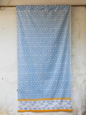 Sitara Hand Block Print Cotton Curtain with Border & Concealed Loops - Pinklay