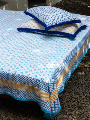 Sitara Hand Block Print Cotton Bed Sheet Set With 2 Pillow Covers