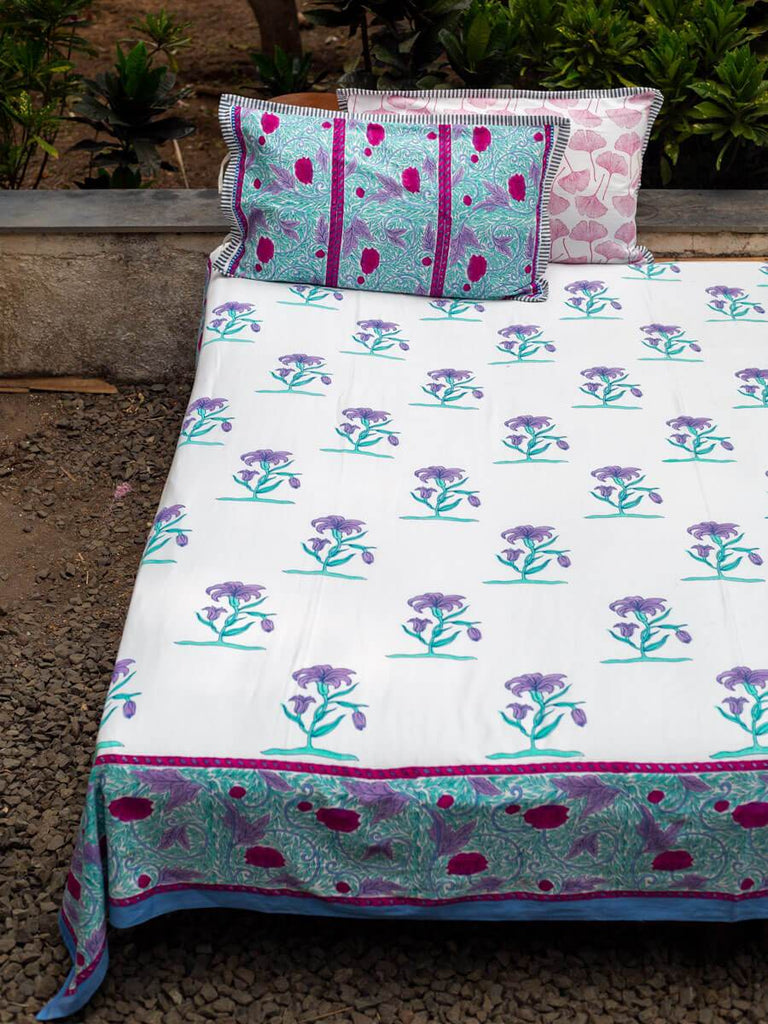 Song of Lilies Hand Block Print Cotton Bed Sheet Set With Complementing Pillow Covers - Pinklay