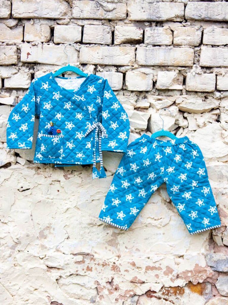 Starry Night Quilted Organic Cotton Angrakha Set